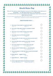 English Worksheet: World Water Day (water quiz with key)