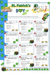 English worksheet: St. Patrick´s Day Set  (1)  - Quiz for Upper Elementary/ Intermediate Students