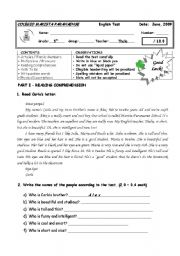English Worksheet: 5th GRADE TEST II - FOUR PAGES WITH A GREAT VARIETY OF QUESTIONS