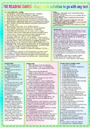 English worksheet: 100 READING GAMES - POSTER + Timesavers + Hippo Report + Suggestions + BW + tons of LINKS - ((11_PAGES)) - A1-C2 level