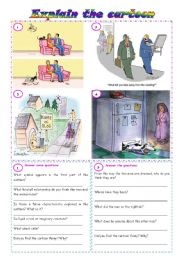 English Worksheet: Explain the cartoon - comprehension, discussion & fluency development ***fully editable ((3 pages))