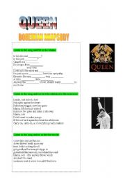 English Worksheets: SONG: Bohemian Rhapsody (Queen)