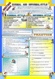 English Worksheet: Writing - Formal and Informal Style