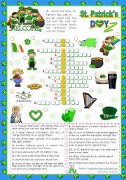 English Worksheet: St. Patrick´s Day Set   (4)  - Crossword Puzzle