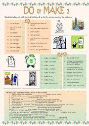 English Worksheets: Do or make 2