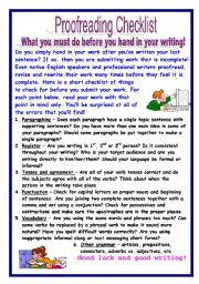 Printables Proofreading Worksheets english teaching worksheets proofreading checklist