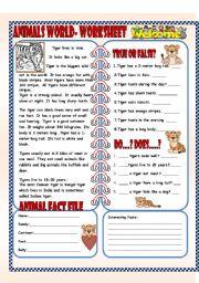 English Worksheets: Animals World- ( 4 pages worksheet)