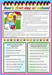 English Worksheets: SUE�S FIRST DAY AT SCHOOL - READING AND COMPREHENSION (B&W VERSION AND KEY INCLUDED)