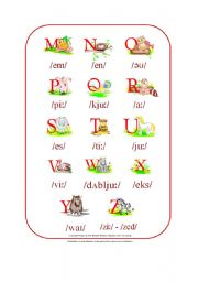 English Worksheet: My Phonetic Animal Alphabet Poster 2/2 (by blunderbuster)