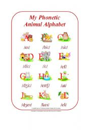 English Worksheet: My Phonetic Animal Alphabet Part 1/2 (by blunderbuster)