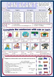 English Worksheet: Can&Can´t (2 pages)
