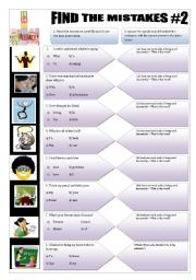 English Worksheets: IMPROVING YOUR ENGLISH - (3 pages) FIND THE MISTAKES #2- 8 Sentences + 5 activities + answerkeys