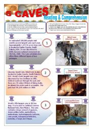 English Worksheet: 5 CAVES AROUND THE WORLD - Reading & comprehension + 5 TEXTS + 7 activities in a group research/project