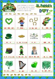 English Worksheet: St. Patrick´s Day   (5)  - Pictionary to complete with missing vowels