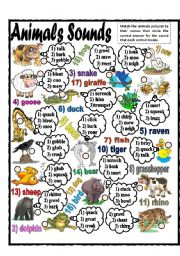 English Worksheet: Animals Sounds (part 2)