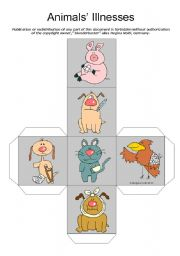 English Worksheet: Animals´ Injuries / Illnesses / Ailments Speaking Activity - Dice + BW Version