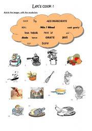 English Worksheet: Cooking - verbs