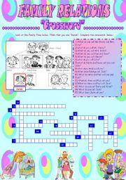 English Worksheet: FAMILY RELATIONS (CROSSWORD)