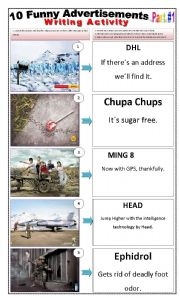 English Worksheets: 10 FUNNY ADVERTISEMENTS - (2 pages - Part 1 of 2) Writing + Describing Pictures + 4 Activities and instructions