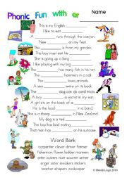 English Worksheets: 3 pages of Phonic Fun with er: worksheet, story and key (#19)