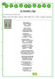 English Worksheet: St. Patricks Day Poem - gap fill