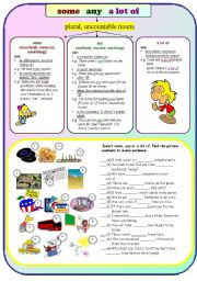 English Worksheet: some/ any/ a lot of
