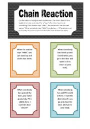 English Worksheet: Chain Reation - A game for the classroom (5 pgs/28 activity cards)