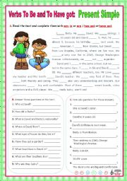 English Worksheet: Verbs to be and to have got - Simple Present - Affirmative, negative and Interrogative forms (6)