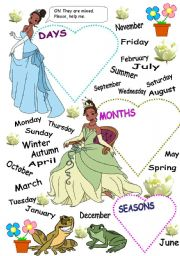 English Worksheet: DAYS -  MONTHS - SEASONS  PART 1
