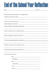 Essay reflection sheets