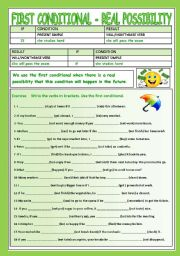 English Worksheet: FIRST CONDITIONAL