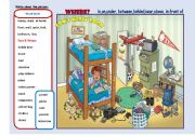 English worksheet: Writing - Tom´s  Messy Bedroom- ( 2 pages)