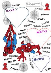 English Worksheet: DAYS - MONTHS - SEASONS (PART 2)