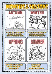 English Worksheet: MONTHS and SEASONS POSTER