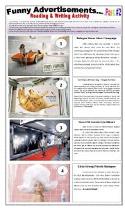English Worksheets: 10 FUNNY ADVERTISEMENTS - (4 pages - Part 2 of 2) Writing + Describing Pictures + 6 Activities and instructions