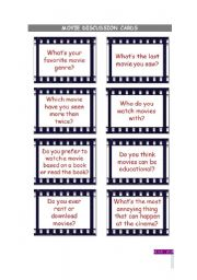 English Worksheets: Movies discussion cards