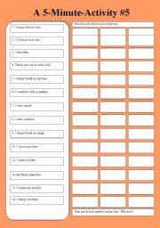 English Worksheets: A 5-Minute-Activity #5