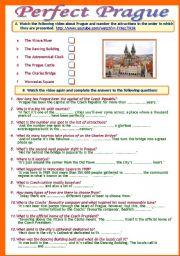 English Worksheet: Perfect Prague (a video activity) (B/W copy + Answer Key)