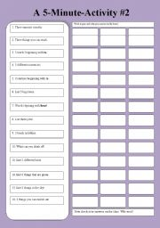 English Worksheets: A 5-Minute-Activity #2