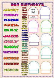 English Worksheet: OUR BIRTHDAYS-CLASSROOM POSTERS AND ACTIVITIES