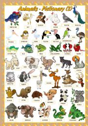 English Worksheet: ANIMALS - PICTIONARY(2)