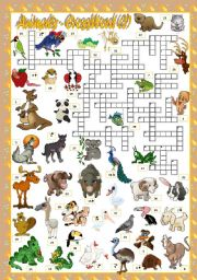 English Worksheet: ANIMALS - CROSSWORD (2)