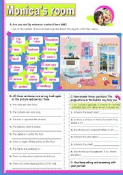 English Worksheet: Monica´s Bedroom  -  Prepositions of Place