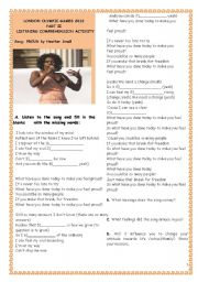 English Worksheet: SPORTS -LONDON OLYMPIC GAMES 2012-PART II-SONG:PROUD by Heather Small(with key)