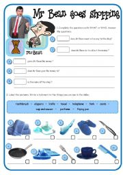 English Worksheet: Mr Bean goes shopping