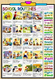 English Worksheets: KIDS AND SCHOOL ROUTINE -PRESENT SIMPLE (B&W VERSION AND KEY PROVIDED)