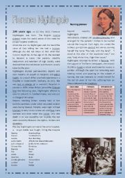 Florence Nightingale - Nurse - Reading and FCE style exercises (2 pages)