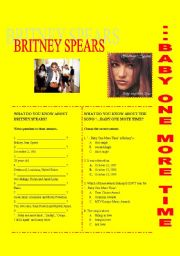English Worksheet: Britney SPEARS � ... BABY ONE MORE TIME�
