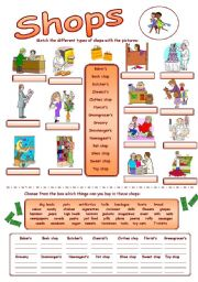 English Worksheet: Types of shops