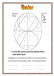 English Worksheet: Easter Egg/ Vocabulary